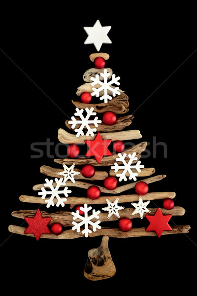 Streszczenie driftwood choinka biały Snowflake cacko Zdjęcia stock © marilyna