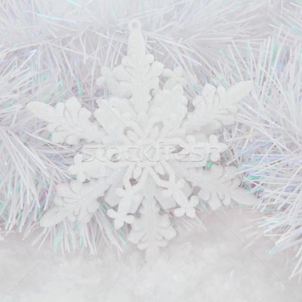 Schneeflocke Spielerei Weihnachten Dekoration Schnee dekorativ Stock foto © marilyna