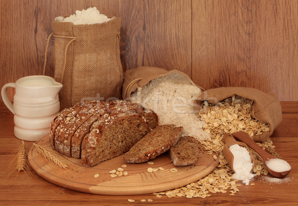 Pan ingredientes sosa roble atención selectiva trigo Foto stock © marilyna