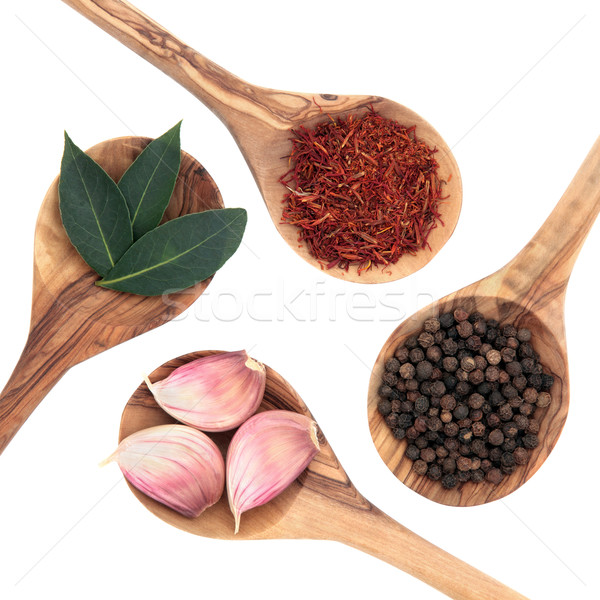 étel öntet fűszer gyógynövény sáfrány fokhagyma Stock fotó © marilyna