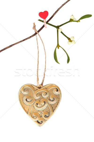 Romántica Navidad oro corazón decoración Foto stock © marilyna
