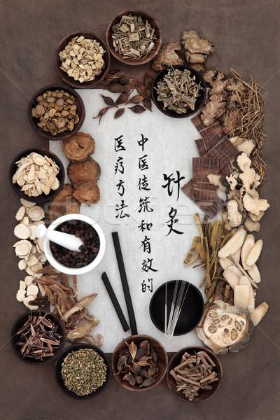 Acupunctuur geneeskunde chinese naalden mandarijn- Stockfoto © marilyna