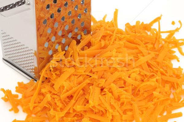 Formaggio grattugiato rosso cheddar formaggio acciaio inossidabile Foto d'archivio © marilyna