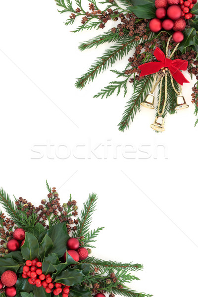Navidad campana chuchería frontera flora oro Foto stock © marilyna
