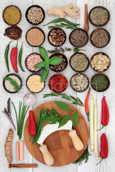 Fresh and Dried Herbs and Spices Stock photo © marilyna