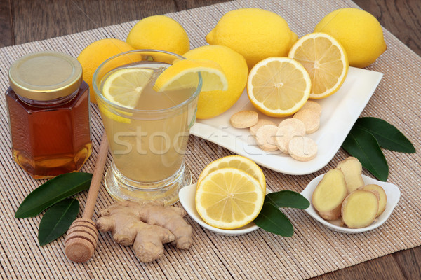 Chaud vitamine c boire citrons miel gingembre Photo stock © marilyna