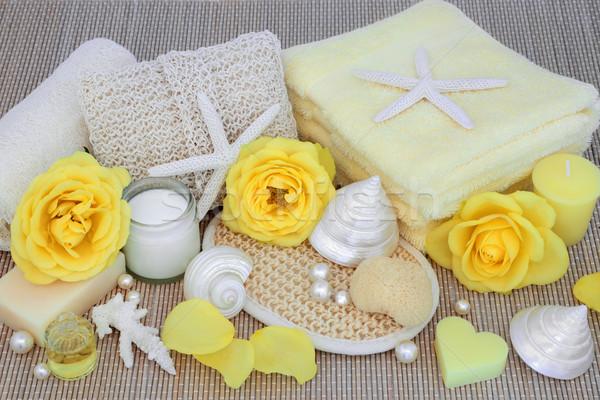 Természetes fürdő szépségipari termékek szépségápolás termékek citromsárga Stock fotó © marilyna