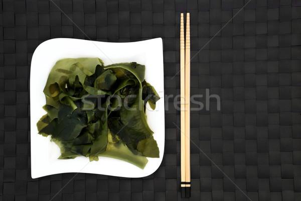 Japans zeewier voedsel vierkante porselein plaat Stockfoto © marilyna