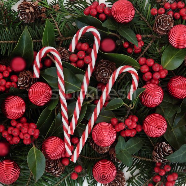 Сток-фото: Рождества · украшение · зима · флора · красный · конфеты