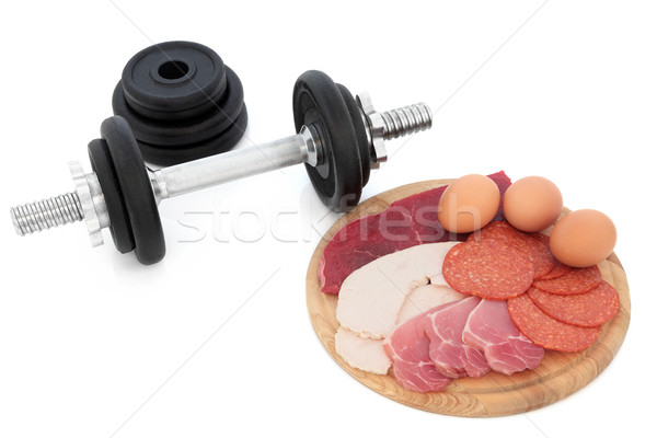 Body Building Food and Dumbbell Weights Stock photo © marilyna