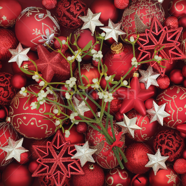 Christmas Mistletoe and Bauble Decorations Stock photo © marilyna
