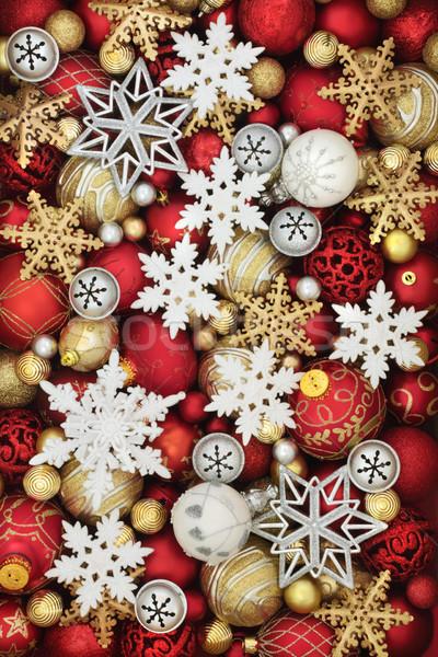 Kar tanesi Noel önemsiz şey süslemeleri kırmızı beyaz Stok fotoğraf © marilyna