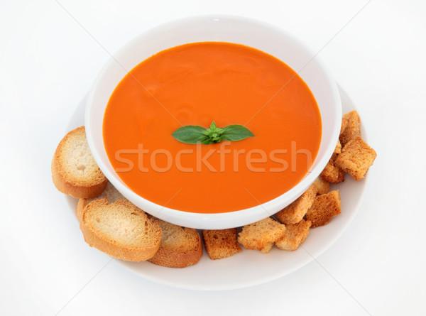 Foto stock: Sopa · de · tomate · albahaca · hierba · hoja · tazón