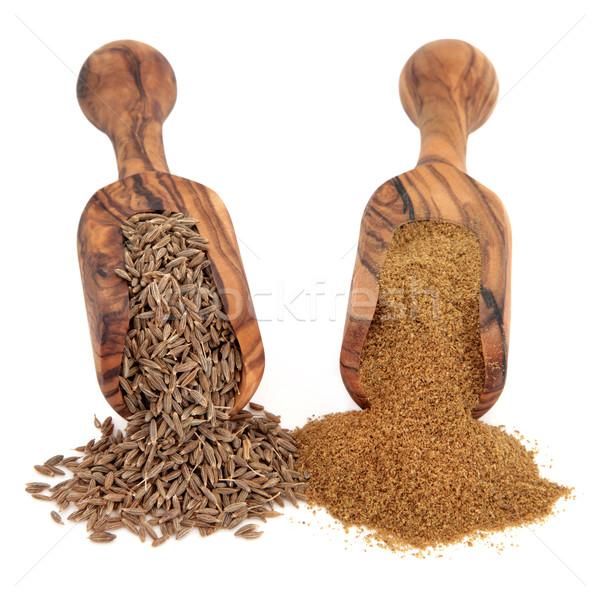 Komijn zaad poeder Spice olijfolie hout Stockfoto © marilyna