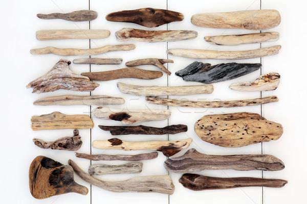 Driftwood streszczenie biały drewna tle sztuki Zdjęcia stock © marilyna