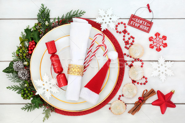 Christmas Table Plate Setting Stock photo © marilyna