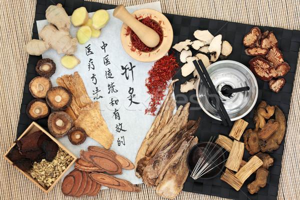 Acupuntura terapia chino hierbas agujas utilizado Foto stock © marilyna