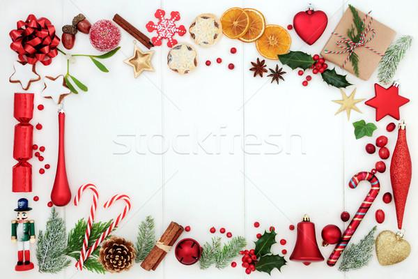 Photo stock: Noël · frontière · traditionnel · symboles · babiole · décoration
