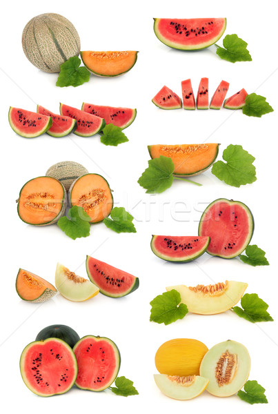 Melon fruits ensemble pastèque feuille isolé Photo stock © marilyna