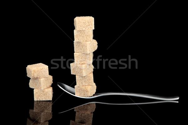 Azúcar azúcar moreno cubo cuchara uno Foto stock © marilyna