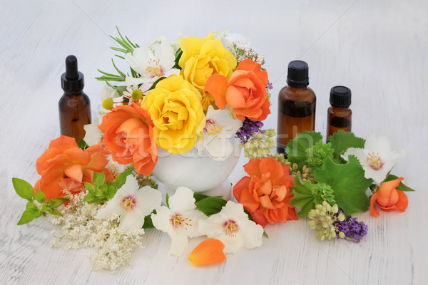 Flores aceites esenciales flor hierba aromaterapia Foto stock © marilyna