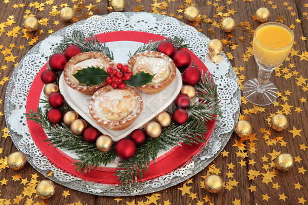 Egg Nog and Mince Pies Stock photo © marilyna