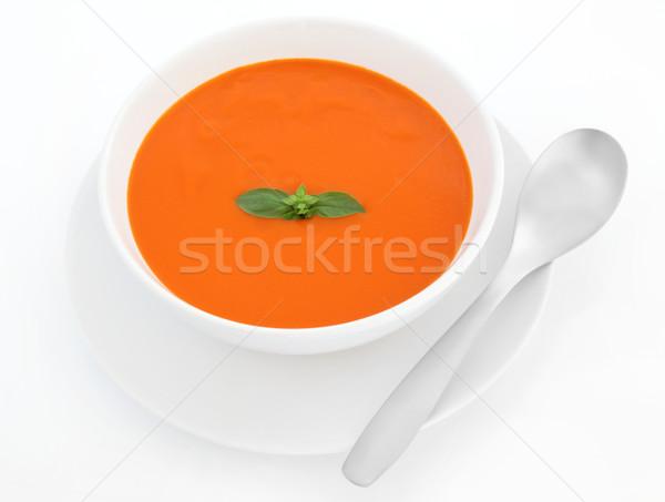 Domates çorbası fesleğen ot yaprak çanak Stok fotoğraf © marilyna