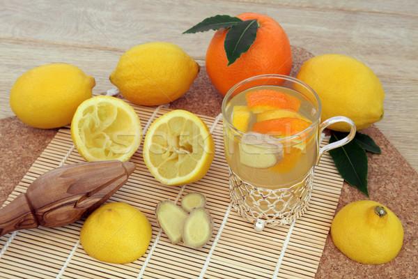Alternatief koud remedie oranje citroen gember Stockfoto © marilyna