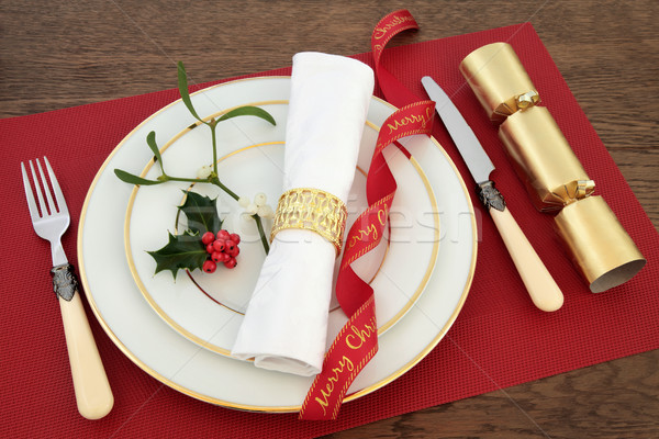 Decorative Christmas Table Setting Stock photo © marilyna