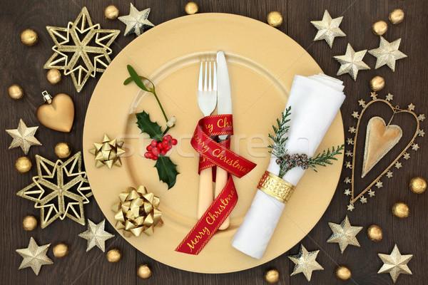 Christmas Dinner Festive Table Setting Stock photo © marilyna
