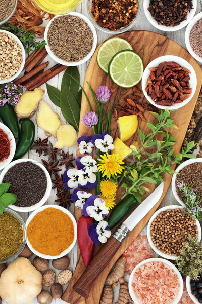 Stock photo: Edible Flowers and Herb and Spice Seasoning