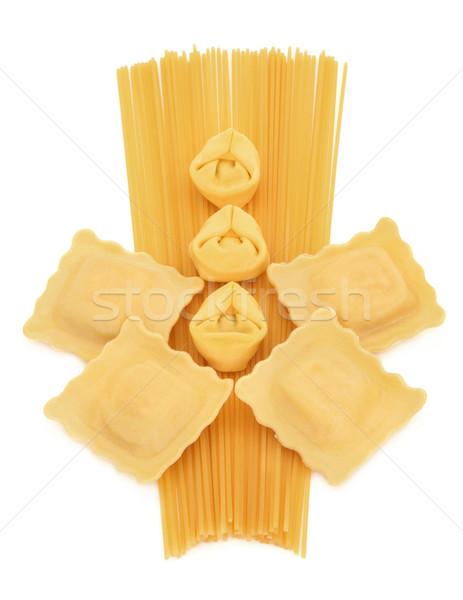 Spagetti tortellini ravioli tészta absztrakt terv Stock fotó © marilyna