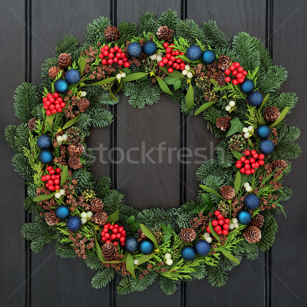 Stockfoto: Christmas · decoratie · krans · Blauw · snuisterij · decoraties