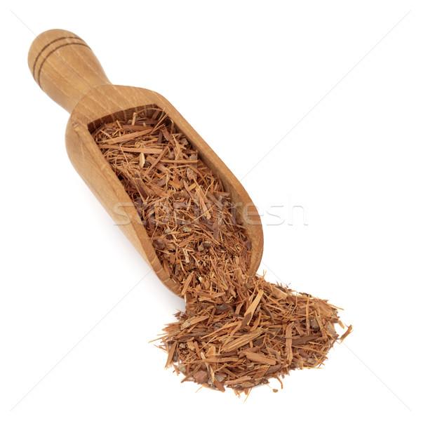 Ugatás gyógynövény gyógynövény fából készült merítőkanál fehér Stock fotó © marilyna