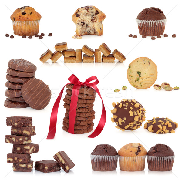 Stockfoto: Cookie · cake · collectie · groot · chocolade · cookies