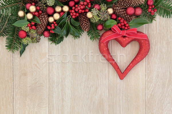 Noel kalp dekorasyon sınır kırmızı ökseotu Stok fotoğraf © marilyna