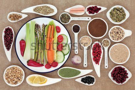 Fogyókúra nagy egészség szuper étel porcelán Stock fotó © marilyna