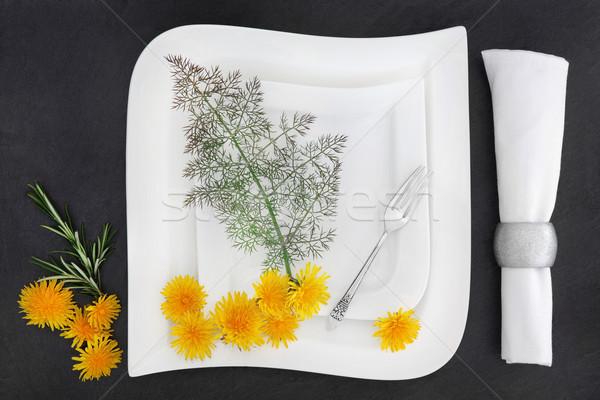 Porselein tafelgerei witte tabel twee platen Stockfoto © marilyna