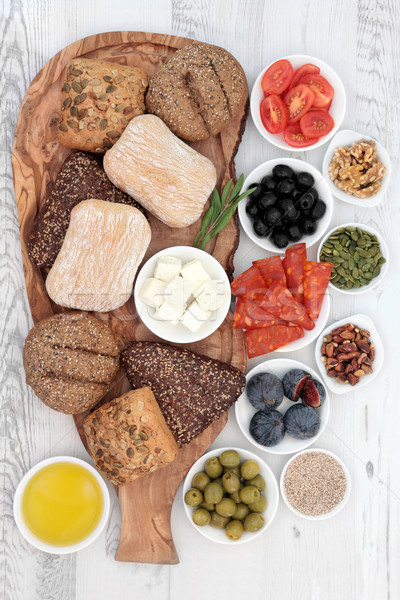 İtalyan gıda ekmek zeytin ahşap Stok fotoğraf © marilyna