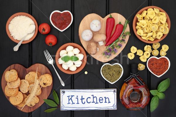 Comida italiana ingredientes ingrediente edad metal cocina Foto stock © marilyna