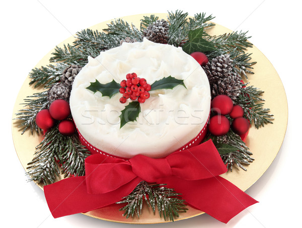 Christmas Cake with Holly Stock photo © marilyna