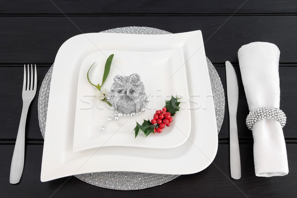 Christmas Dinner Table Setting Stock photo © marilyna