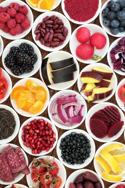 Egészséges étrend étel porcelán tálak magas vitaminok Stock fotó © marilyna