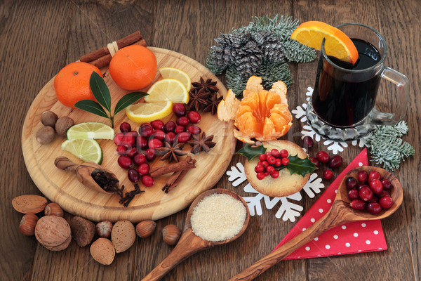 Christmas Food and Wine Stock photo © marilyna