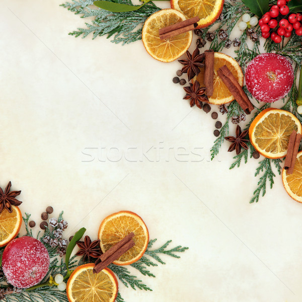Photo stock: Noël · fruits · épices · frontière · séché · gui