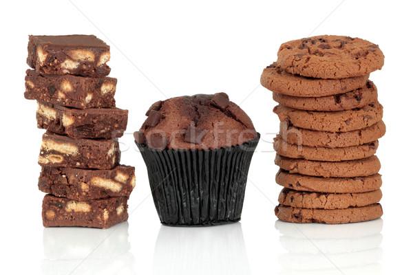 Huncut étel csokoládé keksz négyzetek muffin Stock fotó © marilyna