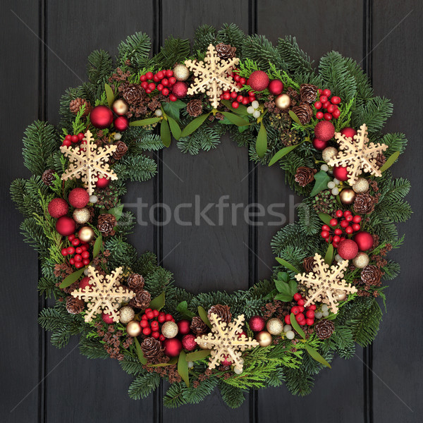 Stockfoto: Sneeuwvlok · krans · christmas · goud · snuisterij · decoraties