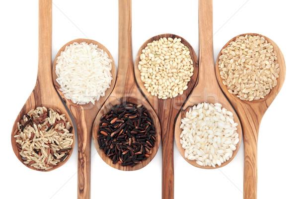 Stok fotoğraf: Pirinç · tahıl · zeytin · ahşap · kaşık
