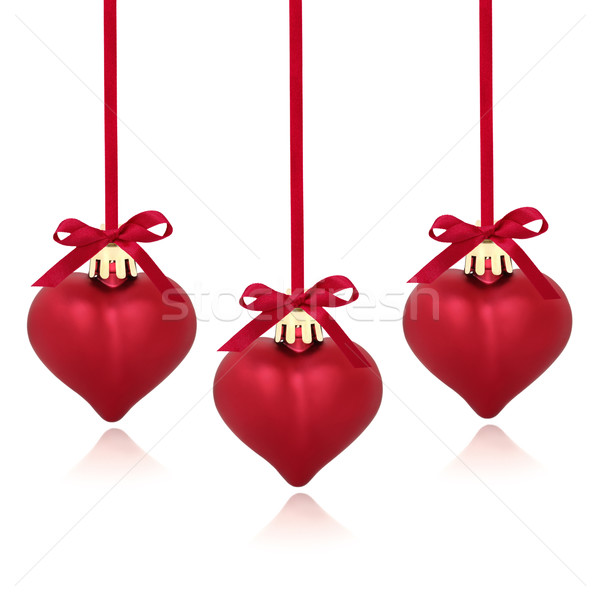 Red Heart Christmas Baubles Stock photo © marilyna