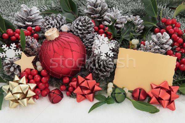 Mutlu Noel önemsiz şey süslemeleri hediye etiket Stok fotoğraf © marilyna